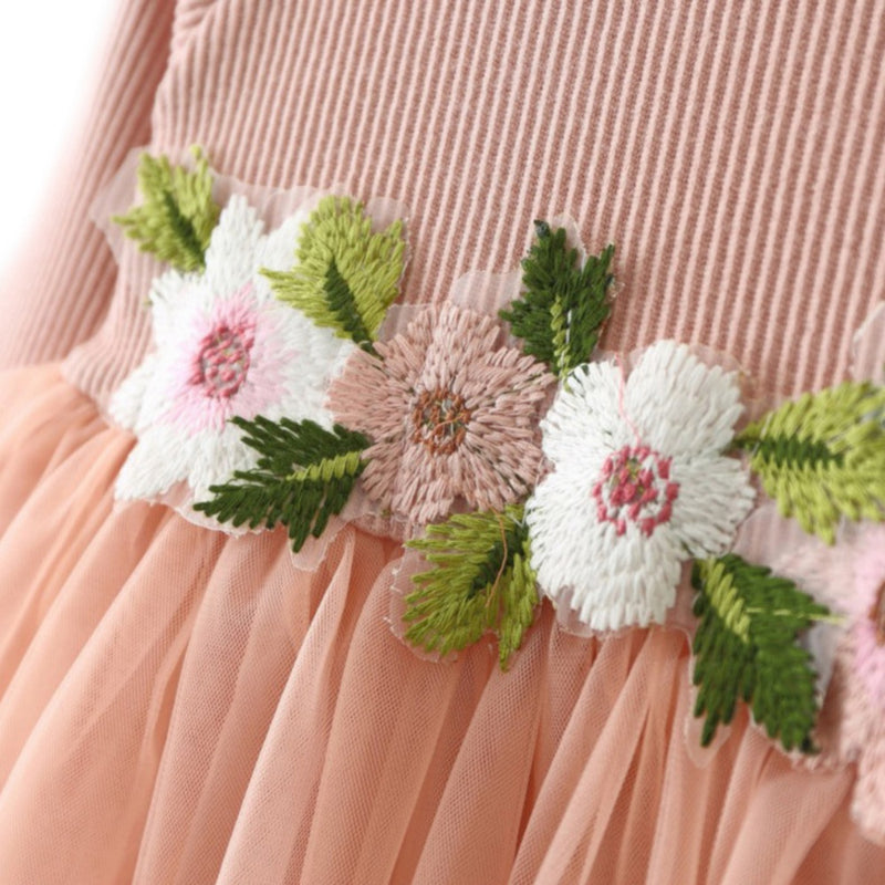 Autumn Baby & Toddler Girls Dress with Flowers Peachy Pink - Posh Kids Boutique Clothing