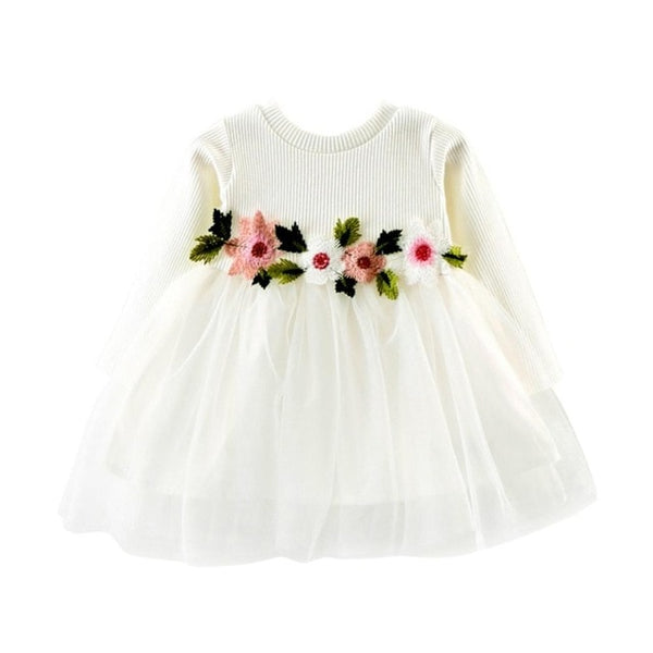 Autumn Baby & Toddler Girls Dress with Flowers White - Posh Kids Boutique Clothing