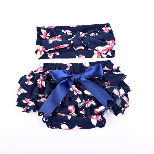 Ruffle Baby Bloomers and Headband Set - Navy Blue Bows - Posh Kids Boutique Clothing