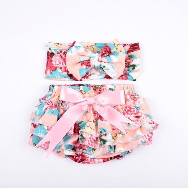 Ruffle Baby Bloomers and Headband Set - Peach, Pink & Aqua - Posh Kids Boutique Clothing