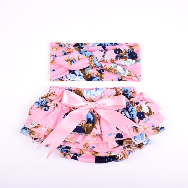 Ruffle Baby Bloomers and Headband Set - Pink and Blue - Posh Kids Boutique Clothing