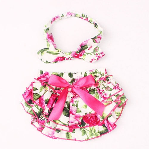 Ruffle Baby Bloomers and Headband Set - Floral Fuchsia - Posh Kids Boutique Clothing