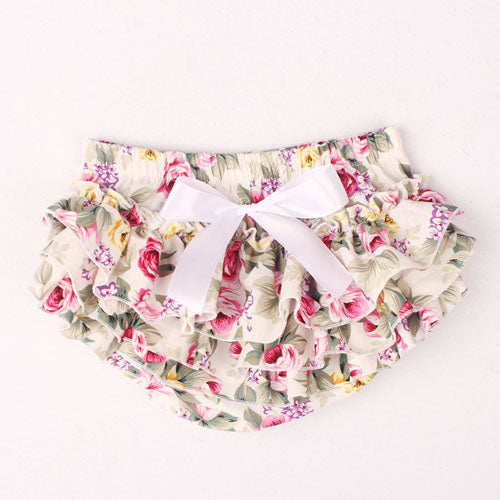 Ruffle Baby Bloomers and Headband Set - Floral White - Posh Kids Boutique Clothing