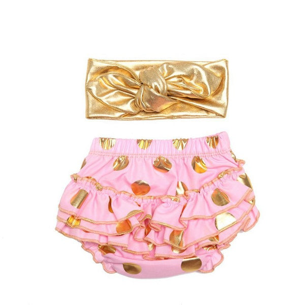 Ruffle Diaper Cover and Headband Cake Smash Set Gold Polkadots - Pink - Posh Kids Boutique Clothing