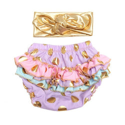 Ruffle Diaper Cover and Headband Cake Smash Set Gold Polkadots - Lavender with Pastels - Posh Kids Boutique Clothing