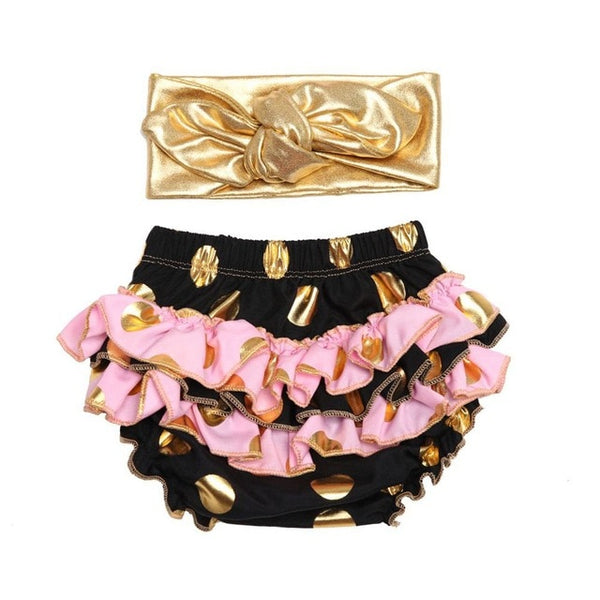 Ruffle Diaper Cover and Headband Cake Smash Set Gold Polkadots - Black with Pink - Posh Kids Boutique Clothing