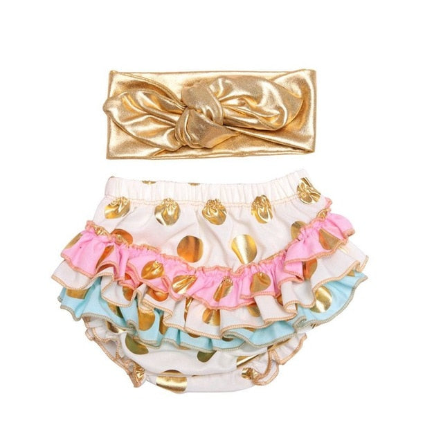 Ruffle Diaper Cover and Headband Cake Smash Set Gold Polkadots - White with Pastels - Posh Kids Boutique Clothing