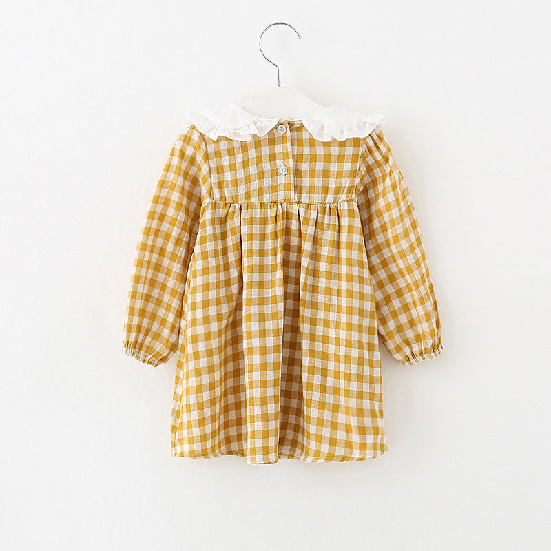 Golden Plaid Baby & Toddler Vintage Style Cotton Dress - Posh Kids Boutique Clothing