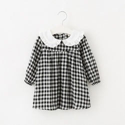 Black Plaid Baby & Toddler Vintage Style Cotton Dress - Posh Kids Boutique Clothing