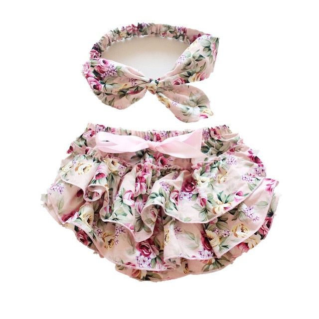 Ruffle Baby Bloomers and Headband Set - Aqua Floral - Posh Kids Boutique Clothing
