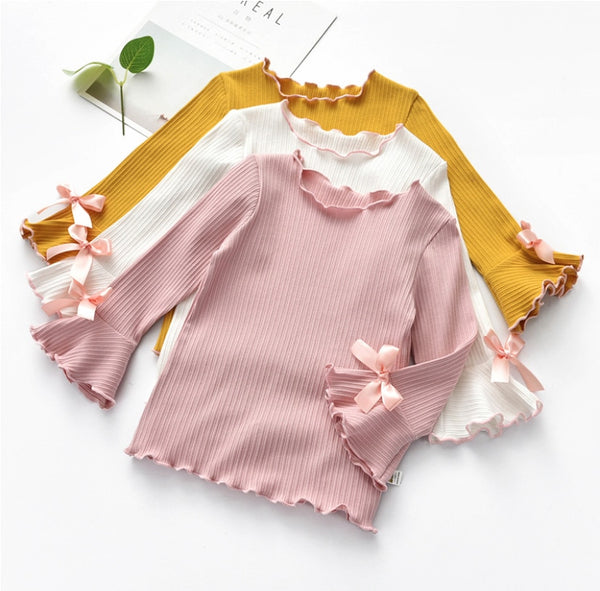 Cotton Ruffle Edge Toddler and Girls Flare Top with Lace & Bow - Posh Kids Boutique Clothing