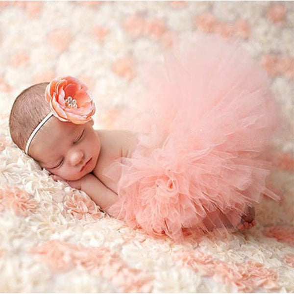 Newborn Tutu & Headband Set Photography Prop Peach Flower - Posh Kids Boutique Clothing