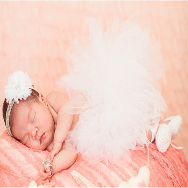 Newborn Tutu & Headband Set Photography Prop White - Posh Kids Boutique Clothing