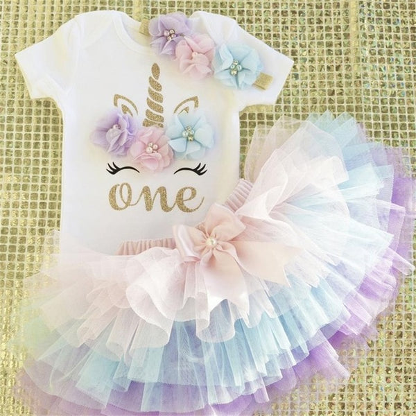 First Birthday Unicorn Pastel Color Flowers Tutu and Top Set - Posh Kids Boutique Clothing
