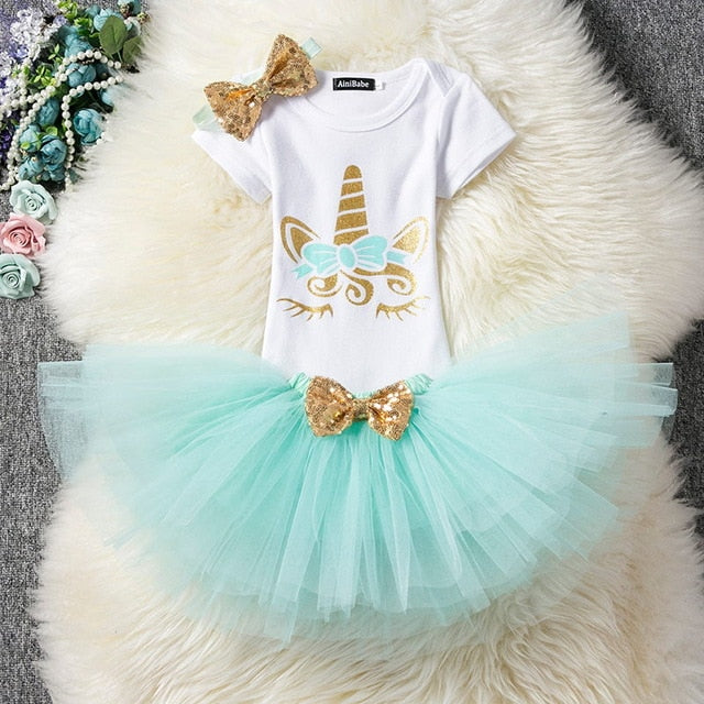 First Birthday Unicorn Aqua and Gold Tutu and Top Set - Posh Kids Boutique Clothing