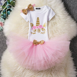 First Birthday Unicorn Light Pink and Gold Tutu and Top Set - Posh Kids Boutique Clothing