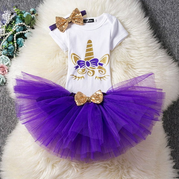 First Birthday Unicorn Purple and Gold Tutu and Top Set - Posh Kids Boutique Clothing