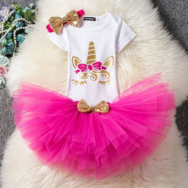 First Birthday Unicorn Hot Pink and Gold Tutu and Top Set - Posh Kids Boutique Clothing