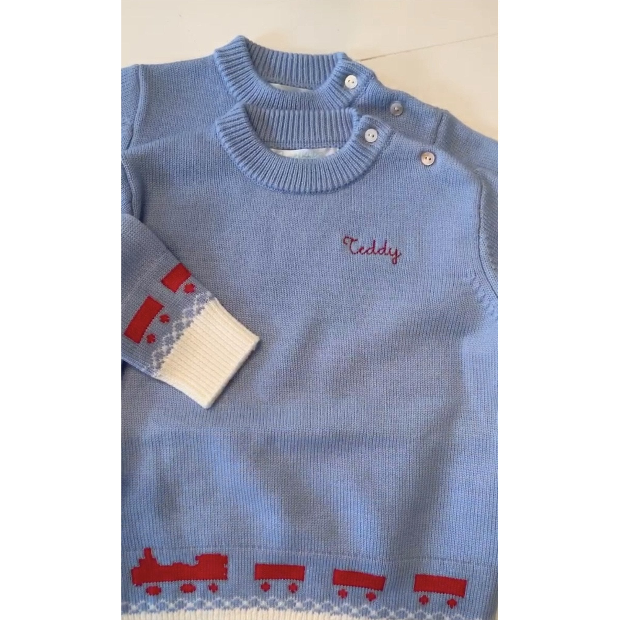 Little Boy's Merino Wool Train Sweater