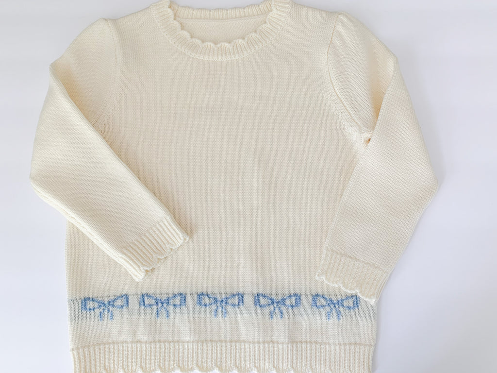 Girl's Merino Wool Bow Sweater