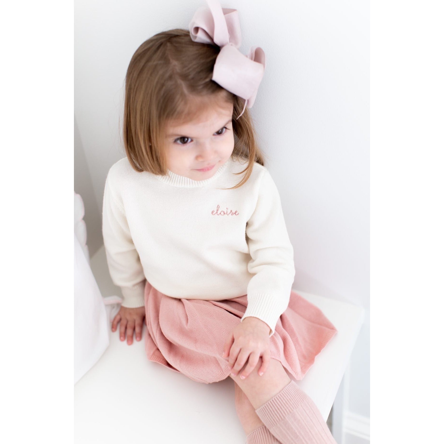 Childrens Merino Wool Name Sweater CREAM