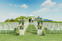 Romantic grass wedding on artificial turf