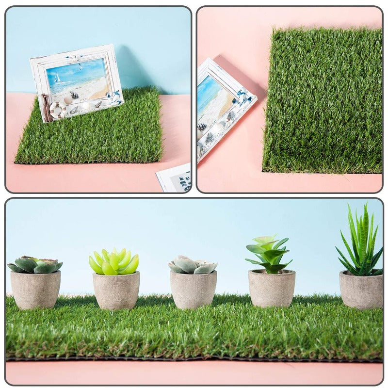 GOLDEN MOON Artificial Grass Turf Patch Tiles, 4 Pcs 12''x12'' Synthetic Grass Square Mats
