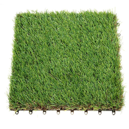 Classic Interlocking Artificial Grass Tiles With Self-draining System, 1'X1', 1.5'' Piles Height