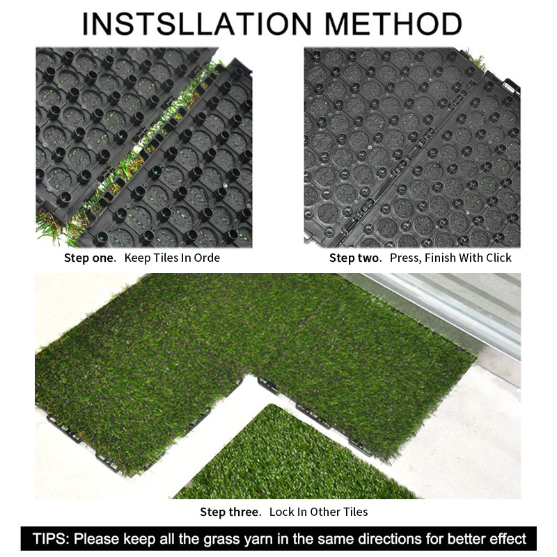 GOLDEN MOON Artificial Grass Turf Interlocking Grass Tiles Lawn Rug for Dogs-1'X1' Synthetic Square Grass Carpet Mat