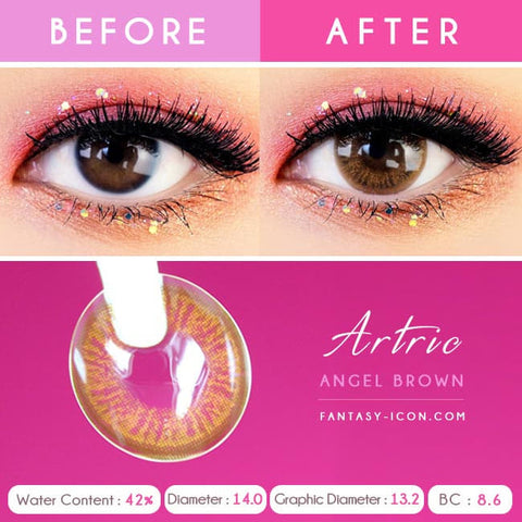 Brown 1 Day Colored Contacts Angel Artric - Detail
