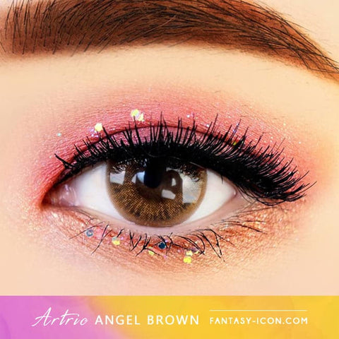 Brown 1 Day Colored Contacts Angel Artric - Eyes Detail