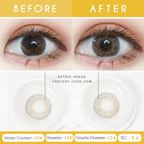 Grey 1 Day Colored Contacts Venus Artric - Detail