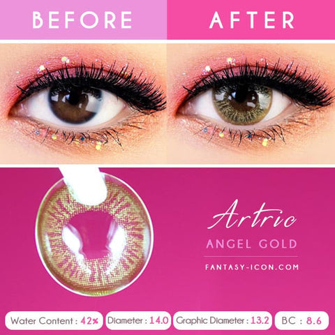 Gold Brown 1 Day Colored Contacts Angel Artric - Detail