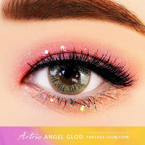 Gold Brown 1 Day Colored Contacts Angel Artric - Eyes Detail
