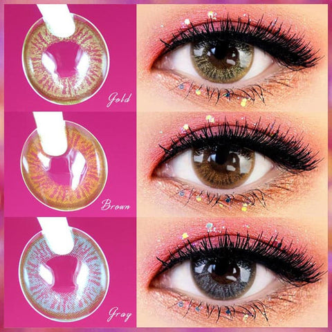 1 Day Colored Contacts Angel Artric - Brown, Gold and Grey