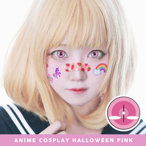 Anime Cosplay Halloween Pink Contacts  model 2