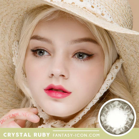 Crystal Ruby Queen Grey Colored Contacts for Hperopyia - model