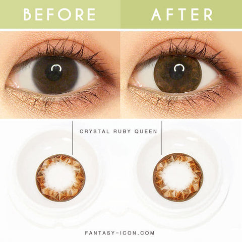 Crystal Ruby Queen Brown Toric Lens Colored Contacts for Astigmatism eyes detail