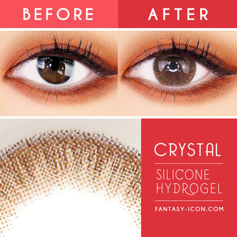 Crystal Silicone hydrogel Lens Brown Colored Contacts detail