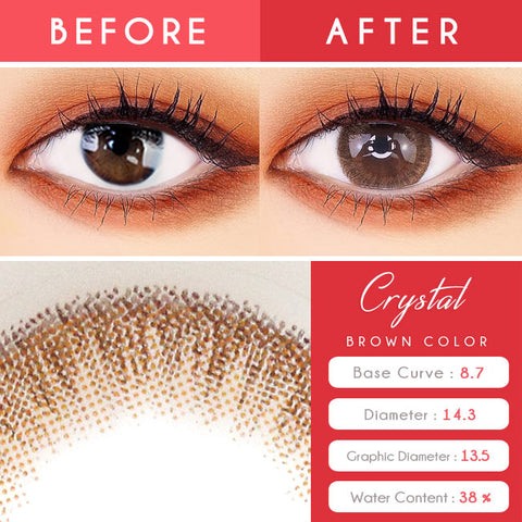 Crystal Silicone hydrogel Brown Toric Lens Colored Contacts For Astigmatism eyes detail