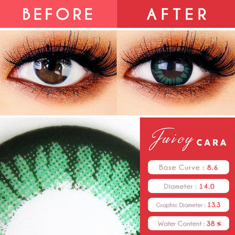 Colored Contacts for Hyperopia Juicy Cara Green beautiful eyes