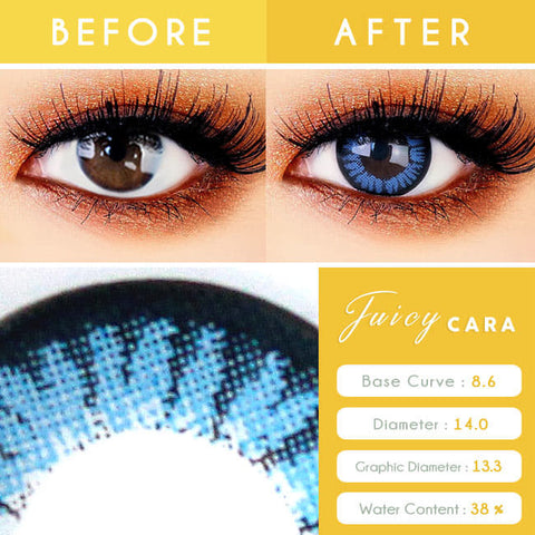 Colored Contacts for Hyperopia Juicy Cara Blue - farsightedness