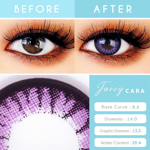 Natural Violet Colored contacts for Hyperopia Juicy Cara Purple