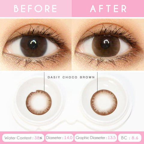 Daisy Chocolate Brown Colored Contacts for Hperopyia eyes