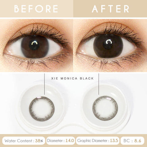 Xie Monica Black Colored Contacts for Hperopyia