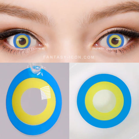 Halloween cosplay Blue Yellow contacts