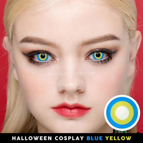 Halloween cosplay Blue Yellow contacts 1