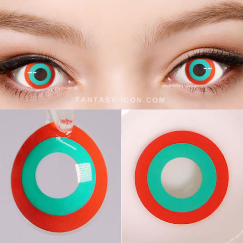 Halloween cosplay Red Green contacts 2