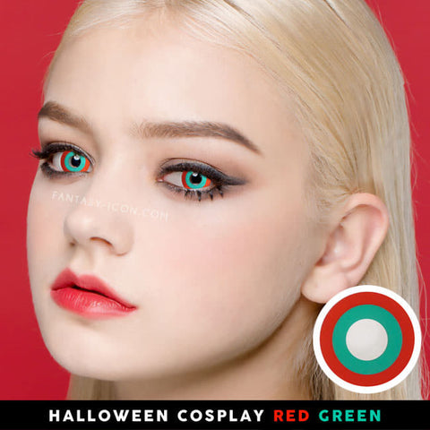 Halloween cosplay Red Green contacts 1