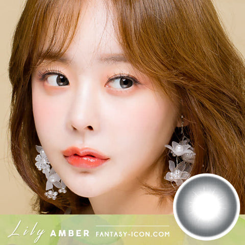 Natural Black Colored Contacts Lily Amber model